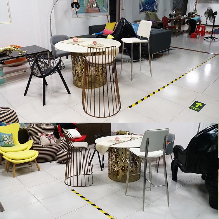现货实物 不锈钢电镀玫瑰金铜色 异形吧椅 方向座垫 西皮实体展厅