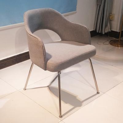 现货埃罗.沙里宁美国设计师餐椅 不锈钢电镀脚铁脚亚麻布 绒布休闲椅洽谈椅电脑椅