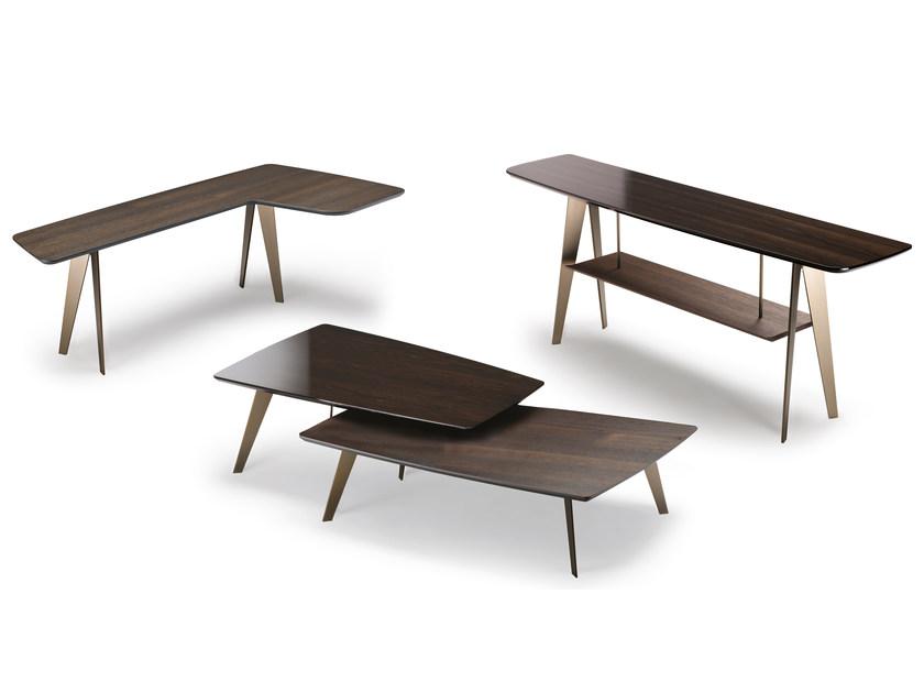 Arketipo DOWNTOWN 玄关桌 Studio Memo 市中心 不锈钢电镀钢色实木拖拉桌 新中式工业风