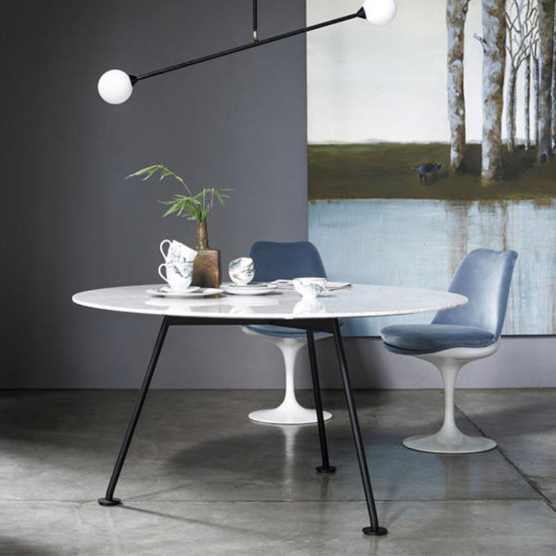 意大利  皮埃尔• 里梭尼 蚱蜢高圆桌五金铁烤漆不锈钢电镀脚 实木大理石桌面餐椅茶几
