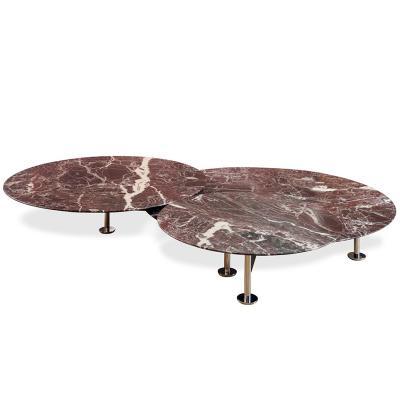 意大利  皮埃尔• 里梭尼 蚱蜢低三重圆桌五金铁烤漆不锈钢电镀脚 实木大理石桌面餐椅茶几