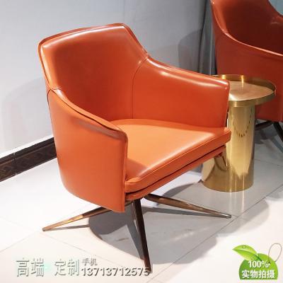 马鞍皮靠背真皮座垫椅 不锈钢玫瑰金无指纹脚 玻璃钢斯坦福休闲椅样板房洽谈椅
