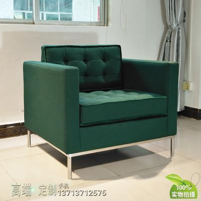 304不锈钢意式极简家具定制 单人沙发麻布绒布电镀拉扣佛罗伦萨·诺尔 Florence Knoll