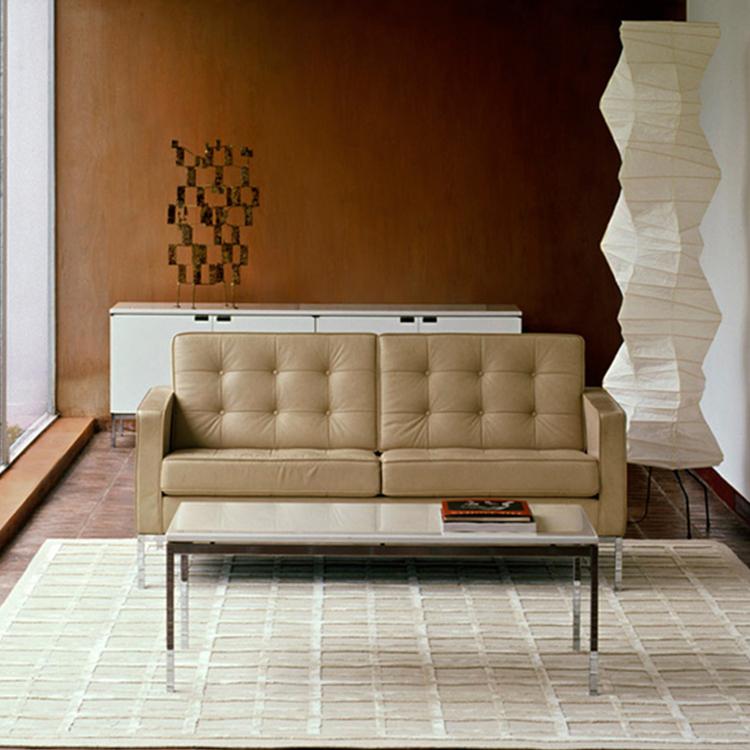 美国弗洛伦斯·诺尔 躺椅 双人位沙发办公室具不锈钢铁烤漆脚架软包布艺皮革真皮沙发
