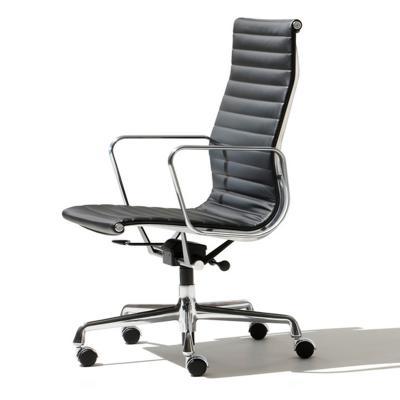 埃伊姆斯铝组椅铝合金老板椅 不锈钢可转脚设计师转椅高背真皮软包电脑椅 休闲椅行政会议椅