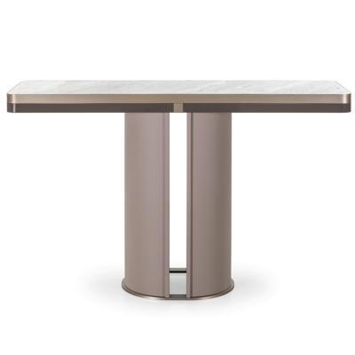 零字形T字 O型玄关桌 安德里亚·博尼尼 意大利风格 不锈钢电镀铜色玫瑰金 大理石实木桌面