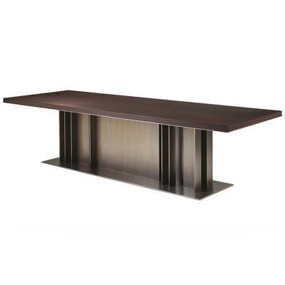 Promemoria系列家具 NILA 会议桌子2019年新品餐椅办公室不锈钢电镀铜色 实木大理石桌面桌脚