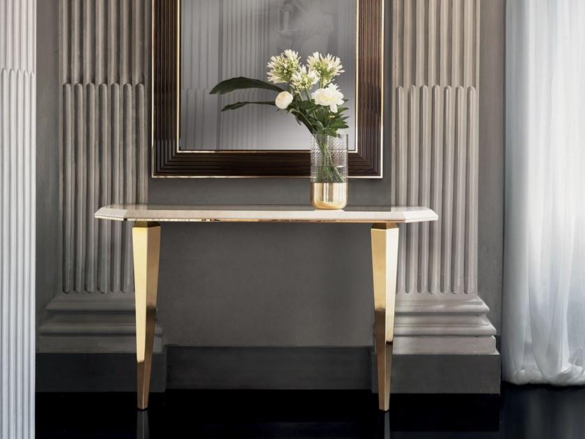 2018年新款 意大利阿朵拉 镶人造钻石玄关桌 几何线条 优雅珠宝桌 迷人黄金桌大理石不锈钢电镀金色