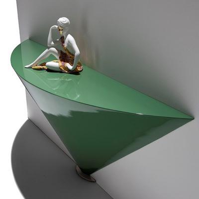 2018年意大利 切片玄关桌 设计者乔治·Soressi 三角帖墙桌 绿色墨色 艺术扇形射线台桌