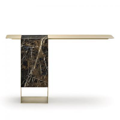 伊设计主玄关桌 薄铜板桌面 大理石基石柱 不锈钢金色黄铜 电镀家具定制 天秤桌