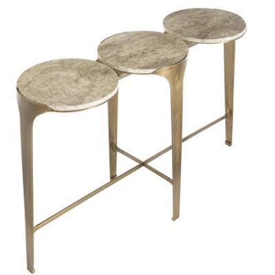 ENNE 海洋玄关桌 莫里吉奥曼卓尼海底元素桌子  吧椅两用 装饰置物桌 不锈钢电镀铜色大理石实木桌