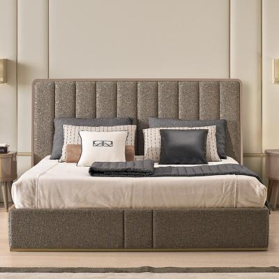 国外设计师家具床铺 大中小号 泰晤士河畔里士满床 不锈钢拉丝电镀香槟金框架