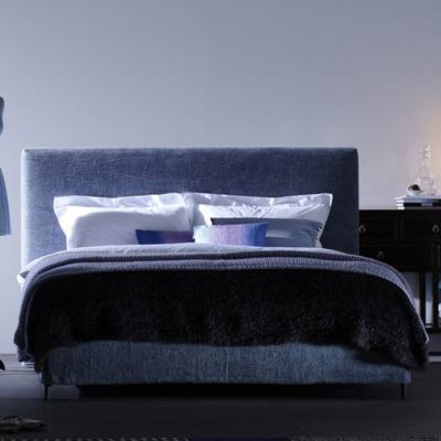 床铺大全:五金实木烤漆电镀大中小床架 床品  蓝色软体方形定制床铺