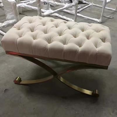 不锈钢电镀脚架 布艺拉扣纽扣沙发坐垫卧室凳服装店鞋店休息鞋凳