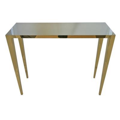金镜面抛光不锈钢框架豪华空间家具 亮面电镀无指纹 防锈餐桌黄金玄关桌