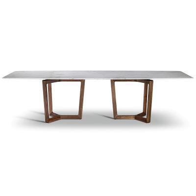 波尔托那•弗劳 意大利2019年大班桌会议桌餐桌 衣拉威尔长方形木桌大理石桌不锈电镀金色脚架