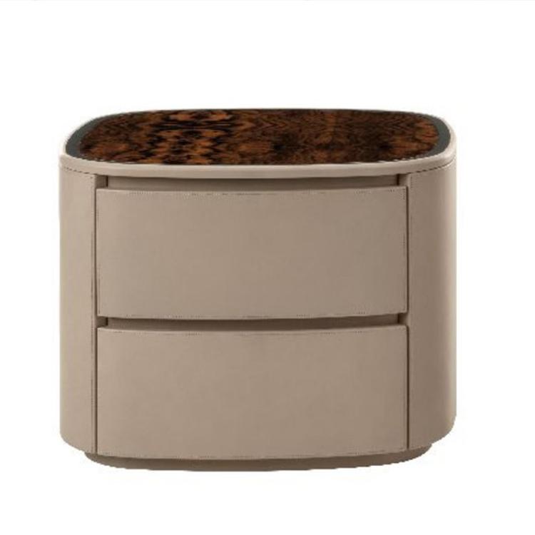 BENTLEY HOME宾利家具HAROLD BEDSIDE TABLE哈罗德床头柜抽屉柜弯曲软包包边大理石