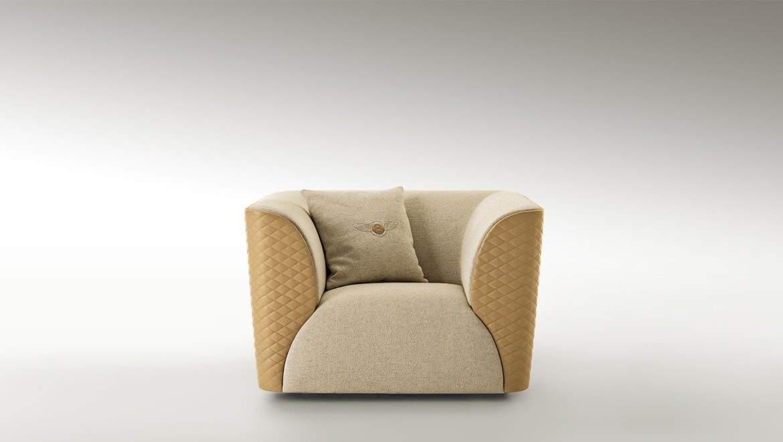 宾利家具波多贝罗扶手椅 单人位带靠头 大号单人沙发休闲椅 皮革布艺