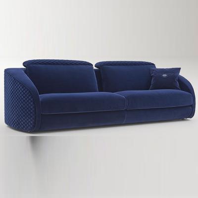 英国宾利家具梅尔罗斯沙发 蓝色布艺皮质BENTLEY HOME MELROSE SOFA 双人三人沙发