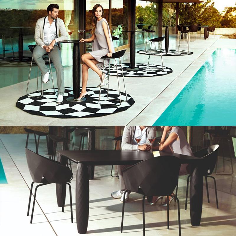 西班牙设计师estudiHac VONDOM 玻璃钢桌子吧桌 餐桌 咖啡桌 不锈钢铁烤漆脚盘