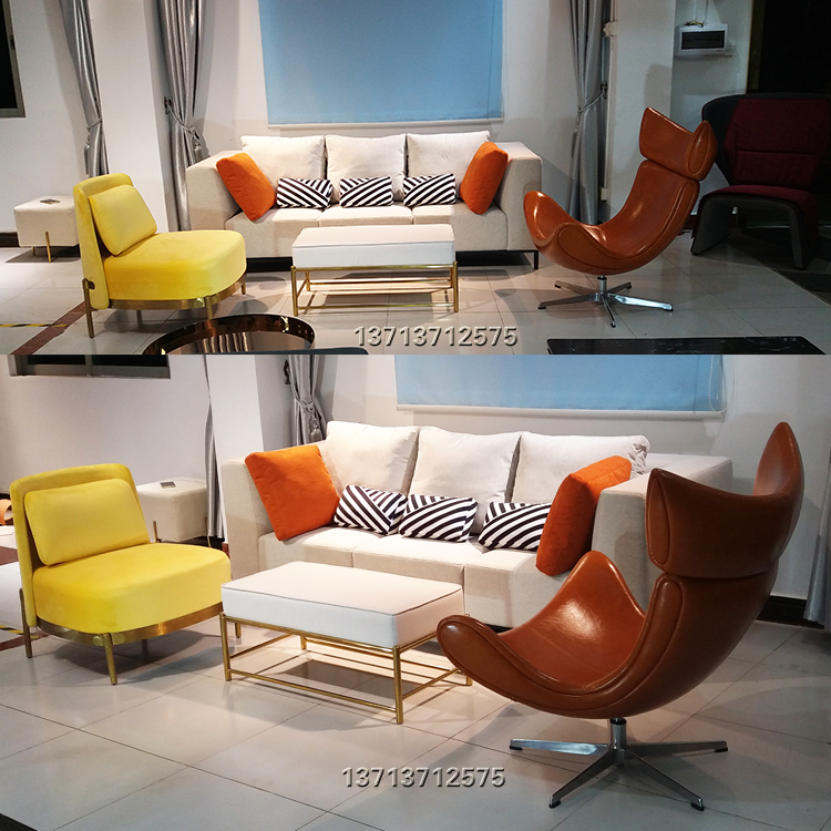 实物拍照北欧风格 小户直线一字型三人沙发布艺五金脚架 样板房 商户酒店会所家具定制