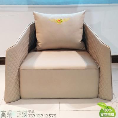 英国设计家具定制 单人位沙发椅 压线 超纤皮西皮PU家用 酒店会所