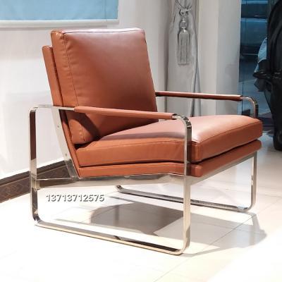 不锈钢弯角意式意大利高品质单人沙发椅 桔色橙色 弧形异形休闲椅