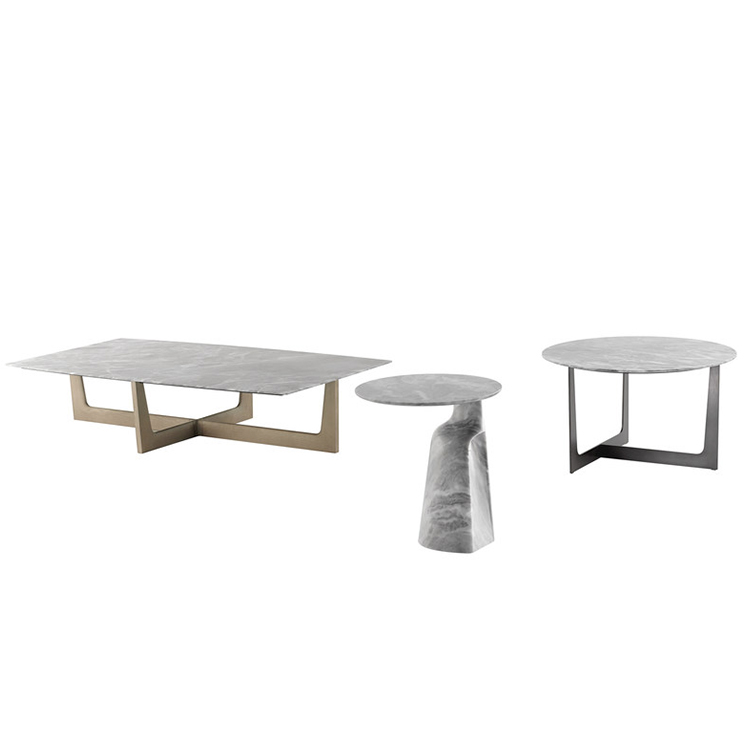 Jean-Marie Massaud  ILARY系列茶几桌子 不锈钢五金大理石实木材质颜色可定制家具