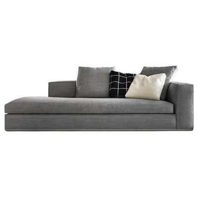 意大利品牌Minotti米诺蒂鲍威尔 躺椅沙发椅布艺不锈钢拉丝底框 优雅贵妃沙发