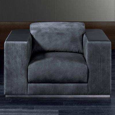 意大利RUGIANO直线型单人沙发系列  不锈钢布艺皮质 单人沙发椅   一字型双人三人沙发