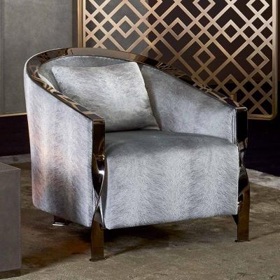 意大利RUGIANO休闲椅单人沙发椅系列  不锈钢 布艺真皮皮革定制沙发
