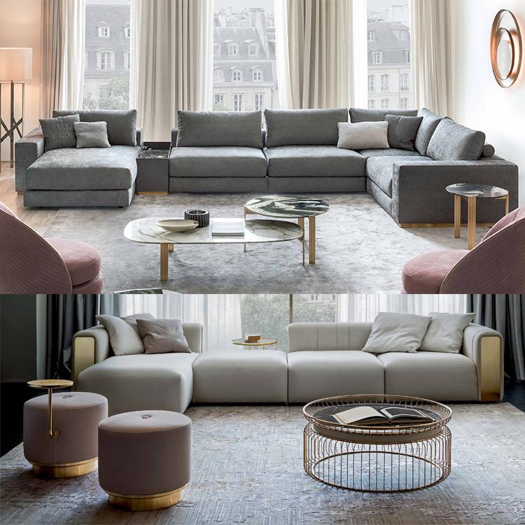 意大利RUGIANO L型带贵妃多人组合沙发 不锈钢五金实木大理石 布艺皮质真皮三人四人多人沙发定制