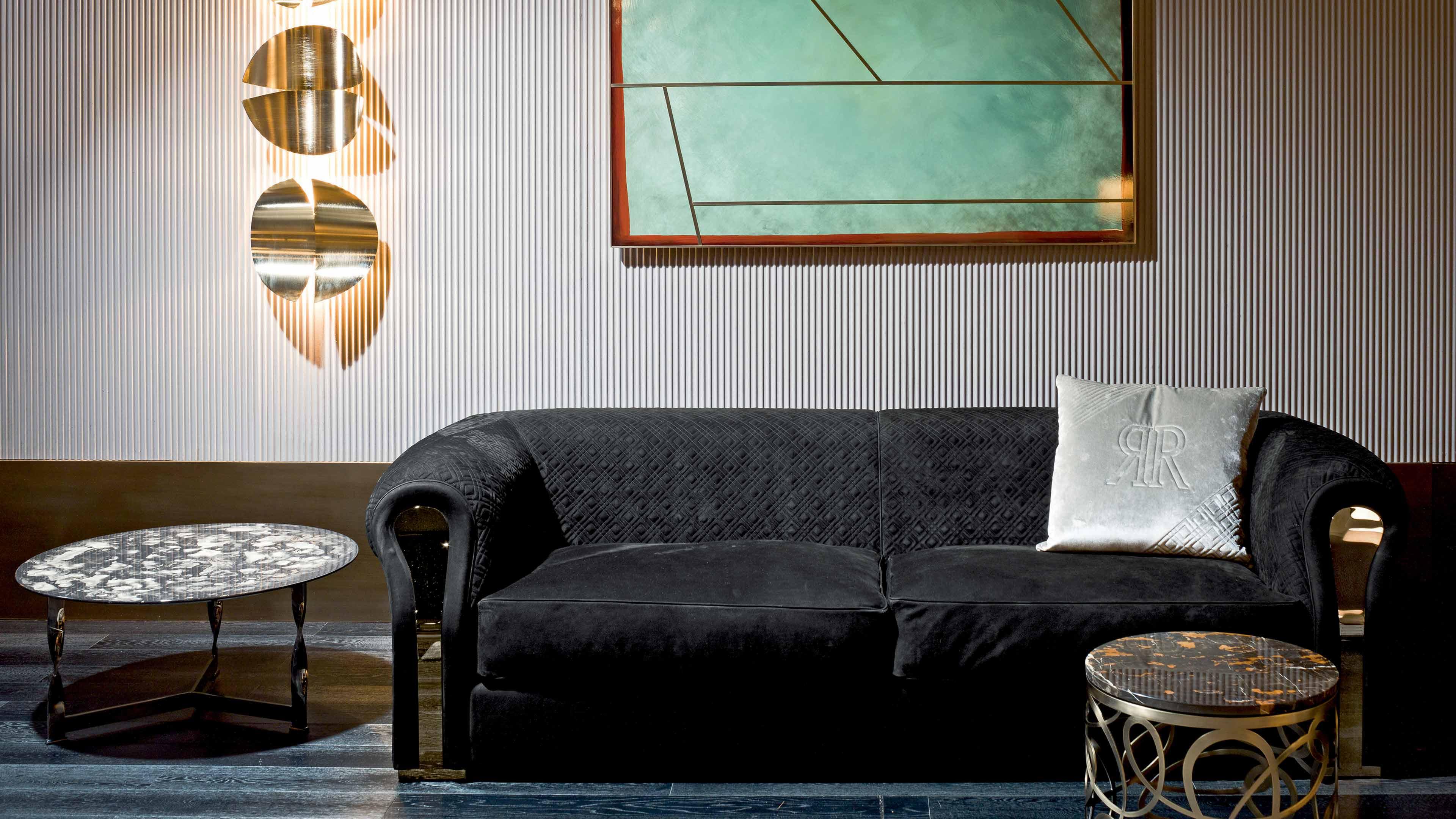 意大利RUGIANO 异形弧形沙发 弯曲线不锈钢 电镀铜色皮革真皮布艺多人沙发定制