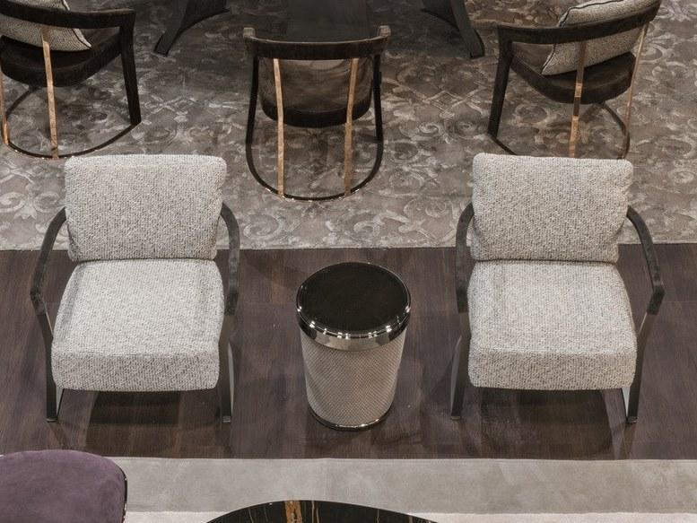 休闲椅餐椅 意大利Longhi KATHRYN安乐椅 不锈钢五金金色电镀钢铁烤漆布艺皮质真皮定制家具