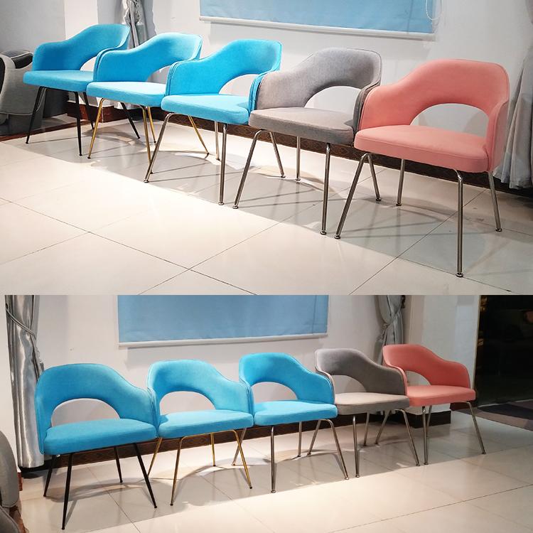 现货美国设计师餐椅 埃罗.沙里宁粗脚不锈钢电镀  粉色绒布休闲椅
