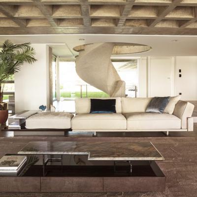 意大利Longhi 2019年新品 轻奢沙发不锈钢电镀金色大理石边几组合沙发 家具 沙发茶几双用