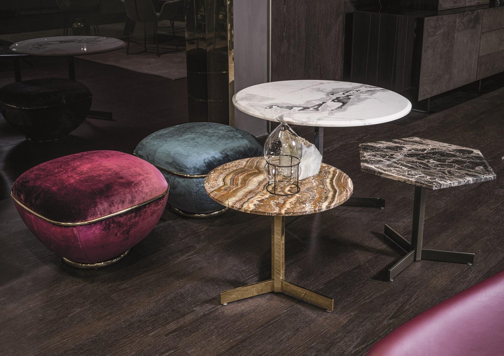 2019年新款上市 意大利Longhi  MATH tea table  Elle Studio 不锈钢六角脚电镀烤漆大理石桌面轻奢茶几边几角几