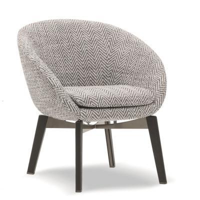 意大利Minotti 2018年 Rodolfo Dordoni 罗素安乐椅 RUSSELL 不锈钢铁烤漆实木脚架 半圆形碗形餐椅洽谈椅