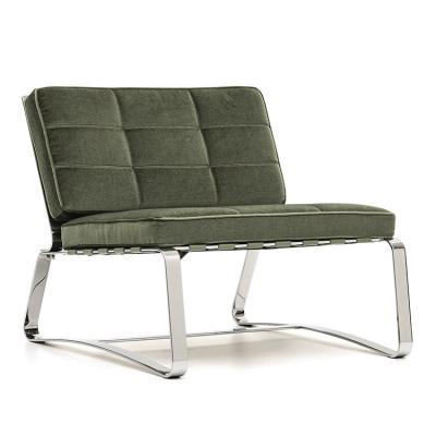 意大利Minotti 2019年新款 Rodolfo Dordoni DELAUNAY QUILT sofa chair 不锈钢收缩带布艺皮质休闲沙发椅