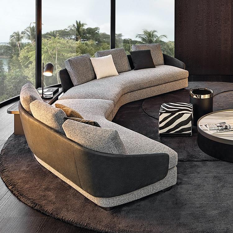 意大利Minotti 2019年新款劳森沙发 设计师 Rodolfo Dordoni LAWSON sofa 弯曲弧形全软包沙发