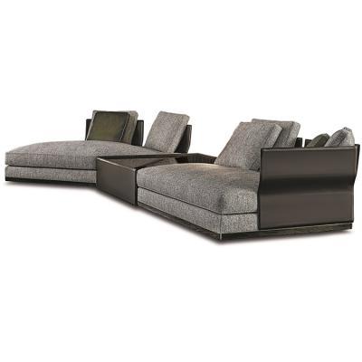 意大利Minotti 2019年新品 Rodolfo Dordoni  WEST SADDLE-HIDE  sofa 模块带不锈钢铜色实木茶几沙发组合两用家具