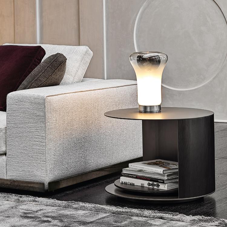 意大利Minotti 2019年新款 不锈钢铜色实木旋转丰富茶几边几角几 两层圆形椭圆形 RICHER Tea table