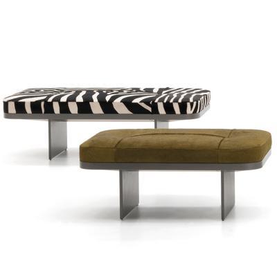 意大利Minotti 2019年新品 Rodolfo Dordoni克莱夫板凳 长椅不锈钢实木布艺沙发椅凳