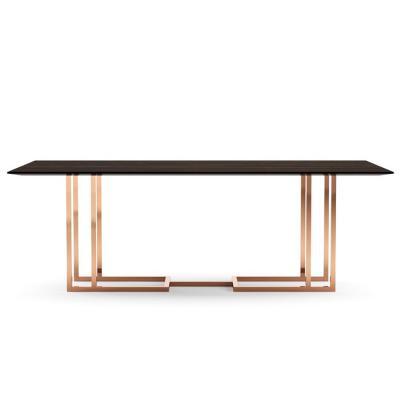 葡萄牙普拉迪伦巴桌长桌餐桌办公桌会议桌 土豪金铜色轻奢不锈钢大理石实木桌