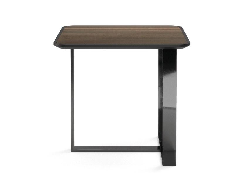 葡萄牙PRADDY PATROL table 巡更方形L脚不锈钢枪黑实木染色帖木皮茶几桌子铁亮光烤漆边几角几