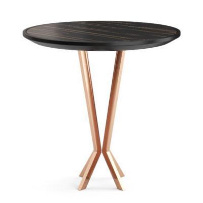 葡萄牙PRADDY PERFIDIA table 女人女性女生茶几不锈钢交叉金色脚 实木大理石桌面边几角几时尚店装