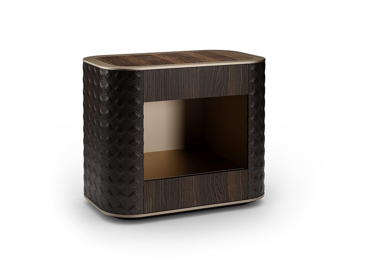 意大利 Reflex  Tulczinsky SAN MARCO  Dresser 床头柜梳妆台 不锈钢抽屉镜子皮革皮质软包铜色金色
