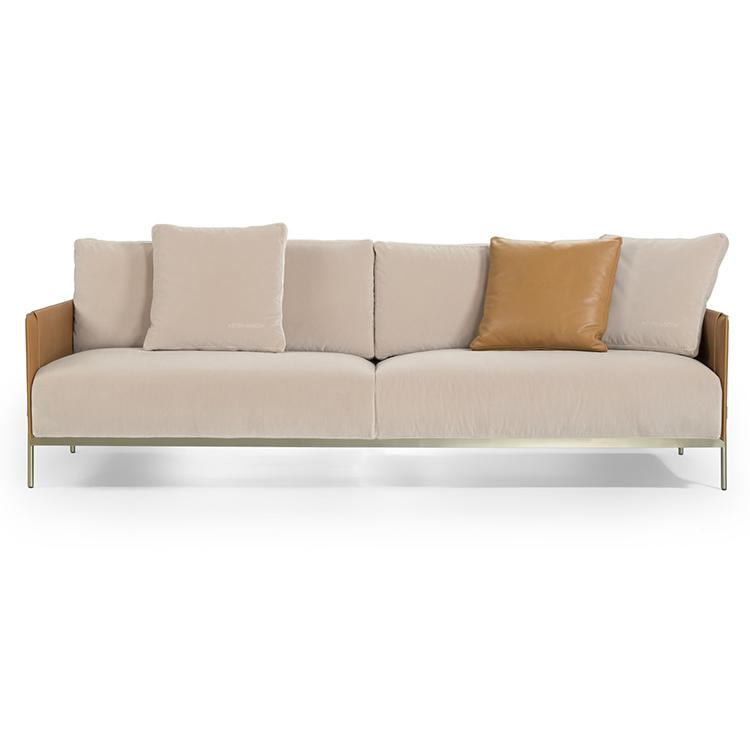 意大利阿斯顿马丁 Aston Martin 三人位沙发多人位椅 不锈钢铜色金色黑色马鞍皮超纤仿真皮极简家具