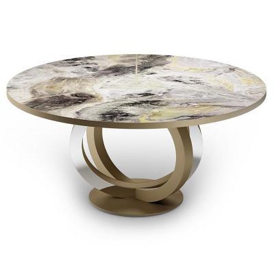 意大利reflex 新中式大理石不锈钢几何脚 Giuseppe Vigan Galassia  table 餐桌会议桌