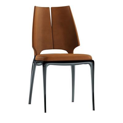 法国品牌家具新中式餐椅 实木脚架 异形餐椅洽谈椅 布艺皮革西皮超纤仿真皮